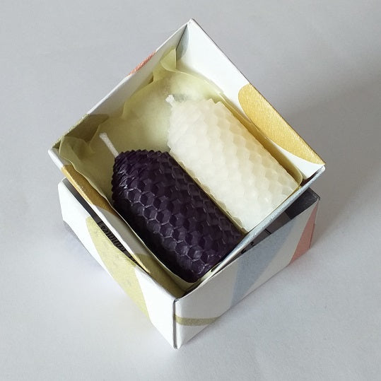 Purple and white handmade beeswax candles giftboxed