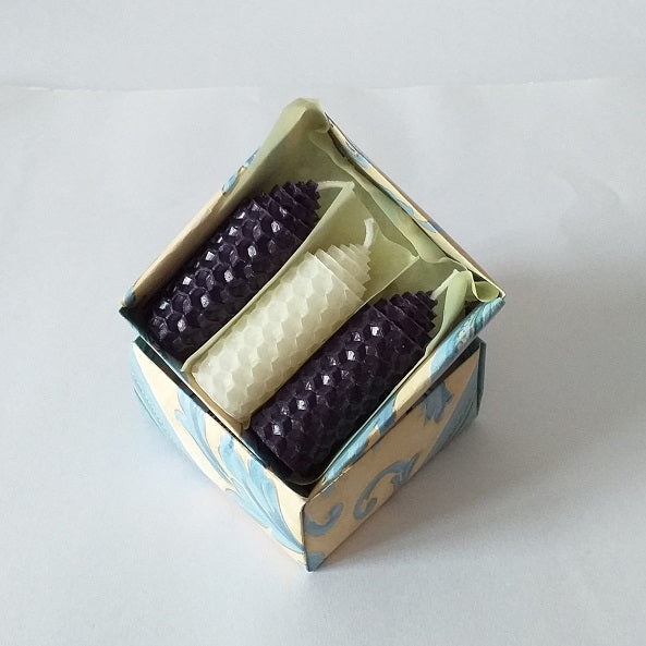 Three handmade purple and white beeswax candles giftboxed