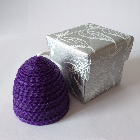 Handmade purple pure beeswax beehive candle in giftbox