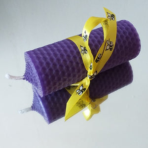 Handmade pure beeswax traditional church candle in purple