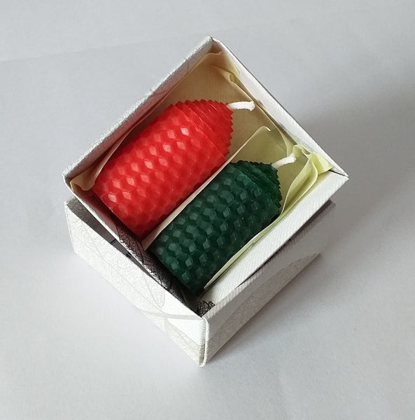 Red and green handmade beeswax candles giftboxed