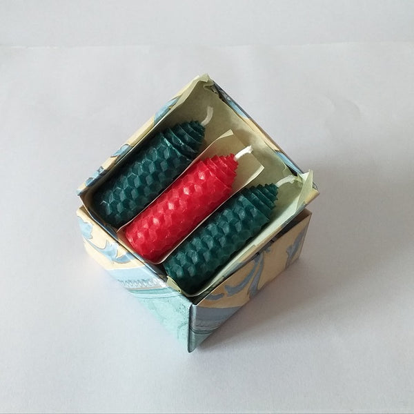 Three handmade red and green beeswax candles giftboxed