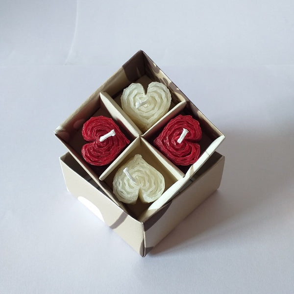 Giftboxed small heart shaped beeswax candles
