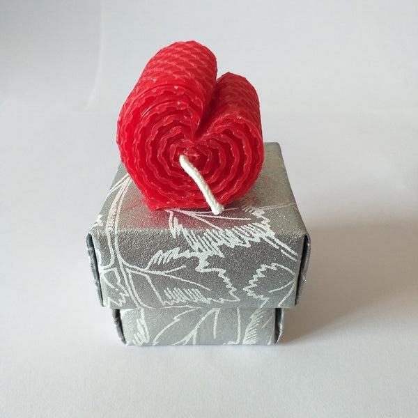 Large red handmade heart shaped pure beeswax candle