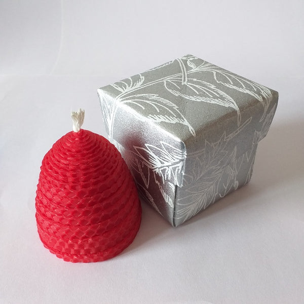 Handmade red pure beeswax beehive candle in giftbox