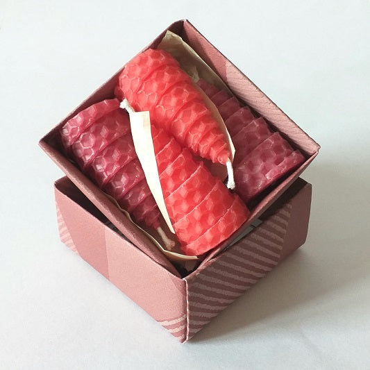 Red and pink giftboxed beeswax candles