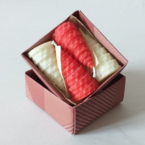 Red and white giftboxed beeswax candles