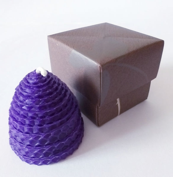 Small purple beehive beeswax candle in handmade giftbox