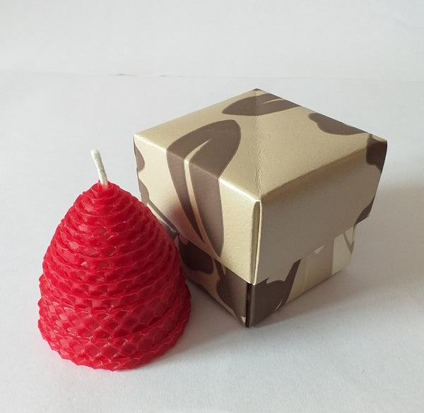 Small red beehive pure beeswax candle in giftbox