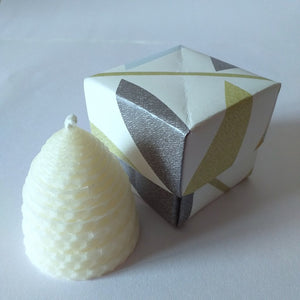 Small white beehive beeswax candle in handmade giftbox