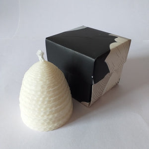 Handmade white pure beeswax beehive candle in giftbox