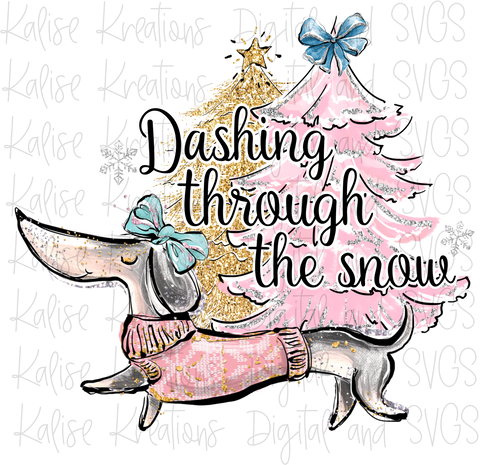 Dashing Through the Snow (Dachshund) PNG