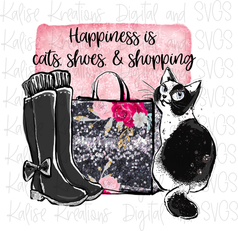 Happiness is cats, shoes, & Shopping PNG