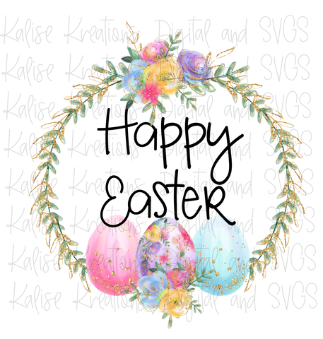 Happy Easter wreath PNG