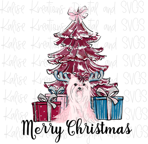 Merry Christmas scene with yorkie PNG