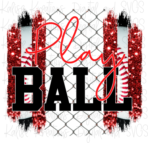 Play ball (baseball) red PNG