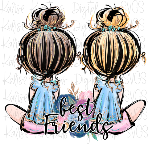 Best Friends blonde and brown PNG