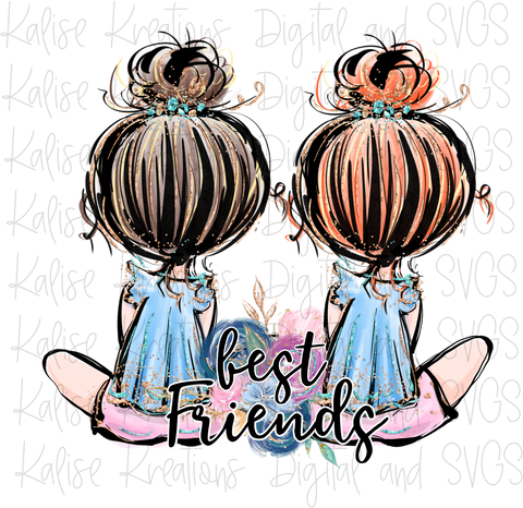 Best Friends red and brown hair PNG