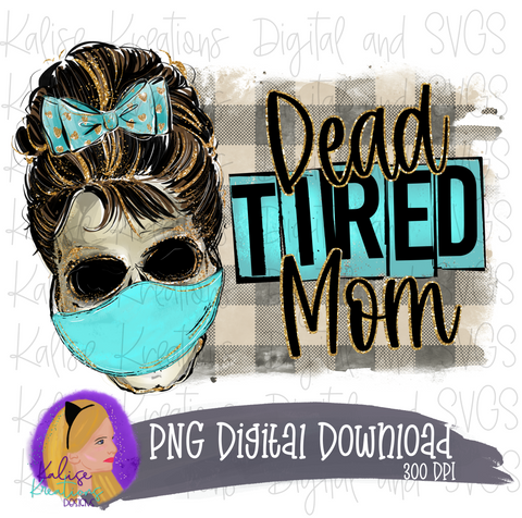 Dead tired Mom with mask PNG