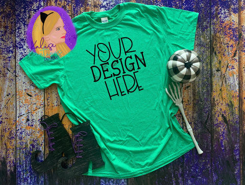 Witchy Gildan 64000 heather irish green Shirt Mock-up