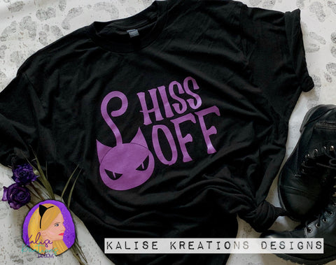 Hiss Off (metallic purple) ready to press screen print transfers