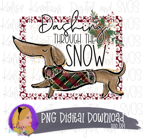 Dashing Through the Snow (Dachshund) 2020 PNG
