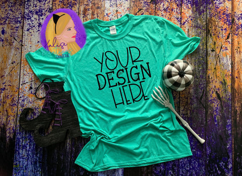 Witchy Gildan 64000 heather sea foam Shirt Mock-up