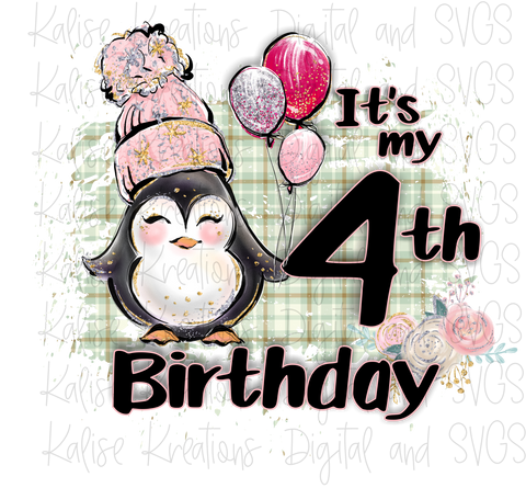 It's my fourth birthday winter penguin girl PNG