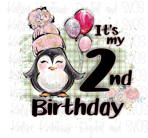 It's my second birthday winter penguin girl PNG