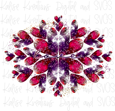Love Glitter Hearts PNG