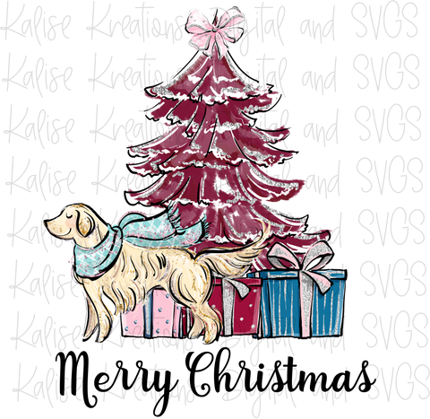 Merry Christmas scene with Golden Retriever PNG
