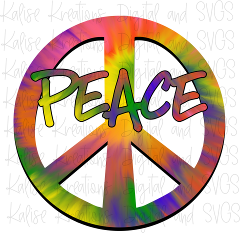 Peace Sign Tie Dye PNG