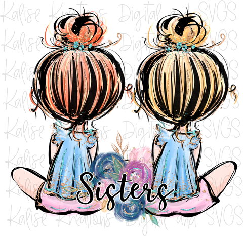 Sisters blonde and red hair PNG