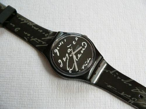 White Writing GB165 Swatch Watch