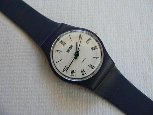Navy Roman Swatch Watch