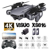 Visuo XS816 Drone 4K With Camera HD Helicopter WiFi FPV Optical Flow Positioning Foldable Dual Camera Selfie Drone RC Quadcopter