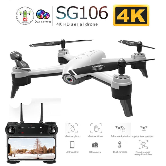 SG106 WiFi FPV RC Drone with Dual Camera 720P 1080P 4K Aerial Video Wide Angle Optical Flow RC Quadcopter Helicopter Kid Toy E58