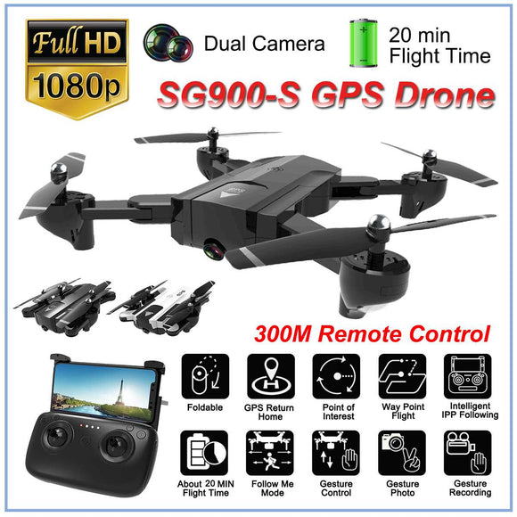 SG900S Ultra HD 1080P Foldable Camera Drones GPS with Camera 2.4G GPS RC Helicopter Drone Wifi FPV Wide-Angle Camera