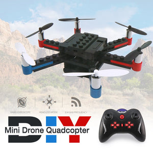 L222 Mini Micro RC Building Block 3D Bricks Quadcopter Drone Aircraft UAV with Flips Headless Mode DIY for Beginner Gift