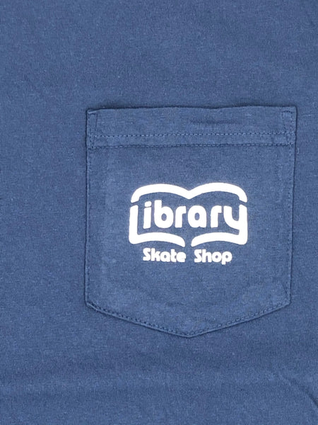 Library - Book Spread Pocket Tee China Blue