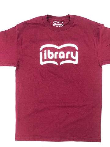 Library - Book Spread Tee Burgundy