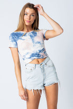 Load image into Gallery viewer, Charcoal & Pink Tie Dye Crop Tee