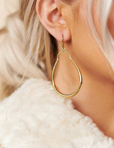 Gold Key Hole Hoop Earrings