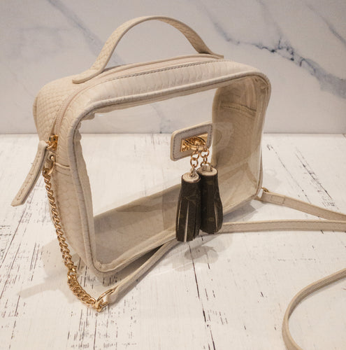 Encinitas Clear Bag - Cream Snakeskin