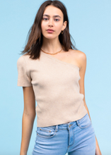 Load image into Gallery viewer, Tan One Shoulder Ribbed Top