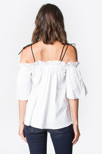 Bree White Open Shoulder Top