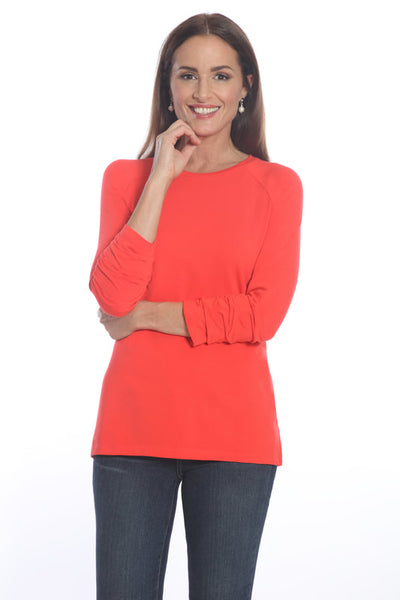 Pima Cotton Ruched Sleeve Tee 327