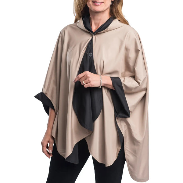 RAINCAPER RC-1600 Reversible Rain Cape - Blk w Camel