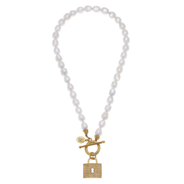 SUSAN SHAW 3769L Gold Lock Freshwater Pearl Necklace