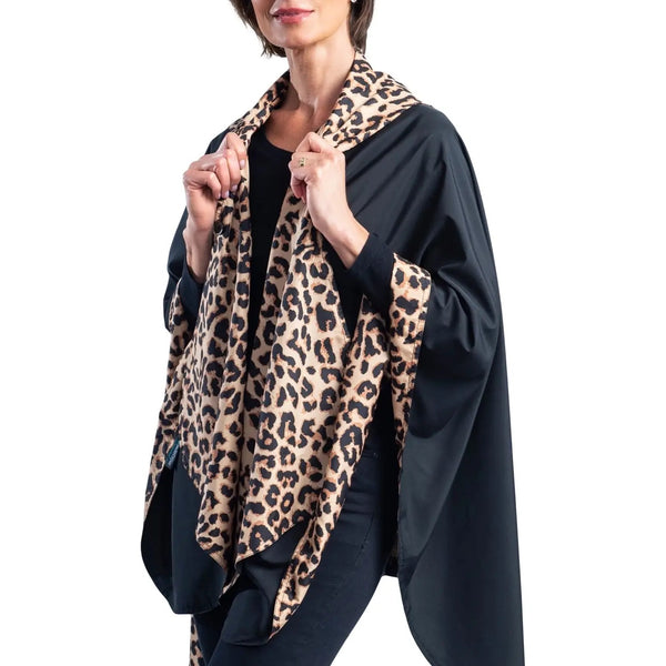 RAINCAPER RC-1756 Black and Leopard Cape